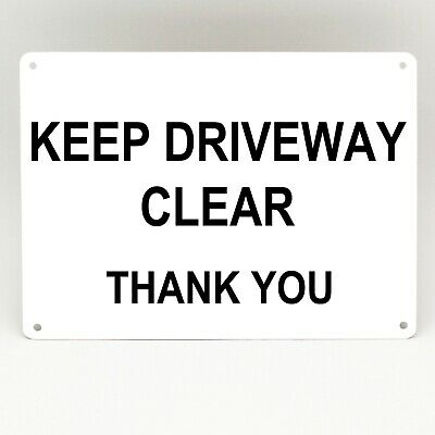 KEEP DRIVEWAY CLEAR METAL SIGN Parking White simple Rigid Garage Thank You