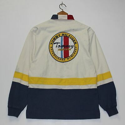 a832c32e Vintage Tommy Hilfiger Surf Wear Rugby Shirt Size Small Navy Blue Yellow
