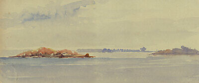 Baltic Islands from the Water, Sweden - Original 1904 watercolour painting
