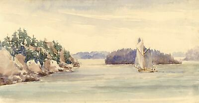 Sailing Boat, Baltic Coast, Sweden - Original 1904 watercolour painting