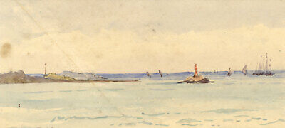 First View of the Baltic Leaving Kiel Harbour Germany -1904 watercolour painting