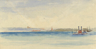 Baltic Train Ferry at Vordingborg, Denmark - Original 1904 watercolour painting