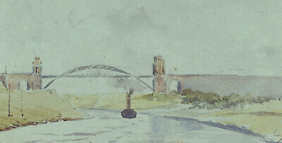 Grunenthal Bridge, Kiel Canal, Germany - Original 1904 watercolour painting