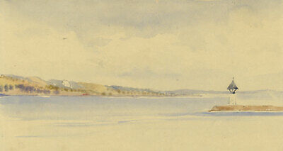 Lake Vattern, Sweden - Original 1904 watercolour painting