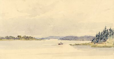 On Lake Roxen, Norsholm, Sweden - Original 1904 watercolour painting