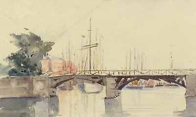 Bridge over River Nissan, Halmstad, Sweden - Original 1904 watercolour painting