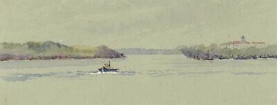 Leaving Stockholm Waters, Sweden - Original 1904 watercolour painting