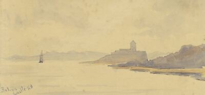Bohus Fortress, Göta älv, Sweden - Original 1904 watercolour painting