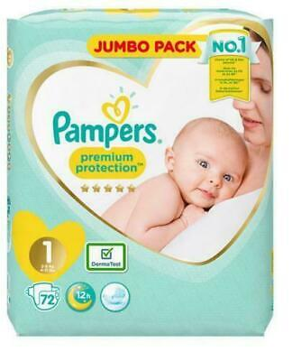 2 X 72 Pampers Premium Protection Baby Nappy 2-5Kg Newborn Size 1 144 Nappies