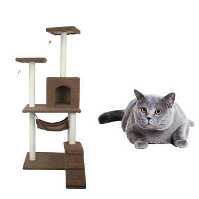 Brown Cat Tree Condo Bed Furniture Scratching Post Tower Kitten Pet Play House