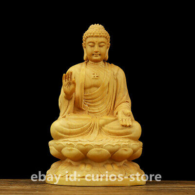 "4"" Chinese Box-wood HandCarved Buddhism Menla Medicine Buddha Medical God Statue"