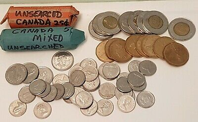 Big Lot Of Canadian Coins $43.40 Face Value Unsearched Canada Money - No Pennies