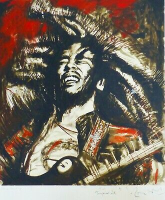 """RONNIE WOOD """" Get up, stand up I """" Bob Marley (red) HAND SIGNED ROLLING STONES"""