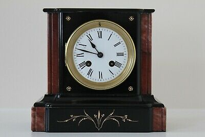 Stunning French Black Slate & Marble Mantel Clock with Red Side Bars c1870