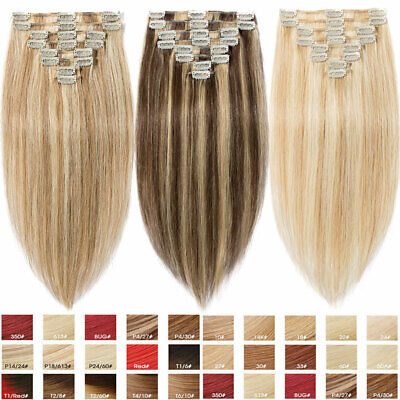 CLEARANCE Clip in Human Hair Extensions Full Head 100% Real Remy Hair Mix Blonde