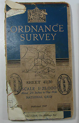 1947 OS Ordnance Survey 1:25000 First Series provisionl Map SU 30 Beaulieu 41/30