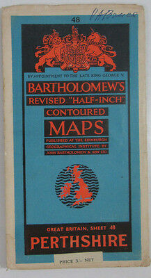 1953 old vintage Bartholomew's Revised Half-inch contoured map 48 Perthshire
