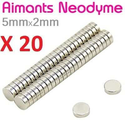 Lot 20 Minis Aimant Neodyme Neodymium Magnets Disque Rond Fort Puissant 5mmX2mm