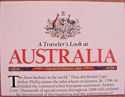National Geographic February 1988 Map A Traveler's Look at Australia 1788 - 1988