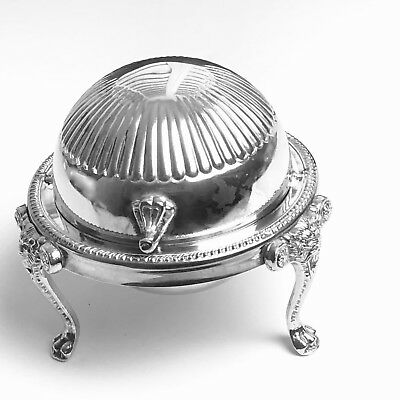 Antique Domed Butter Caviar Server Dish Roll Rotating Top Lid Leonard Silver
