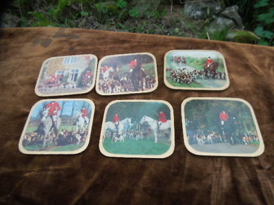 6  Vintage  Coasters - Mats For Glasses - Horses + Hounds - Fox Hunting  X 6