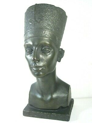 QUEEN NEFERTITI EGYPTIAN Pharaoh Bronze Bust Vintage AUSTIN Productions Artwork