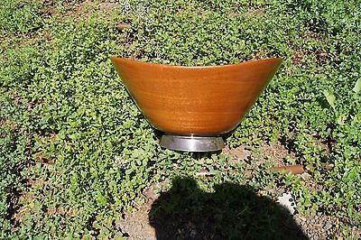 Contemporary Golden Mahogany thin walled wood bowl with sterling silver base