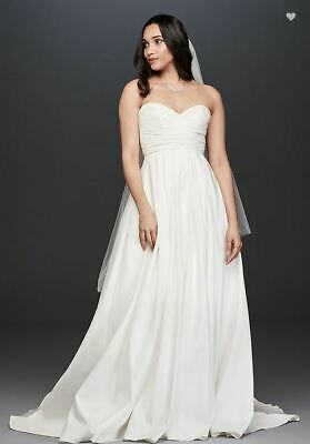 cf0ea57c4f4ee David's Bridal WG3707 Pleated Strapless Wedding Dress with Empire Waist  Size 12