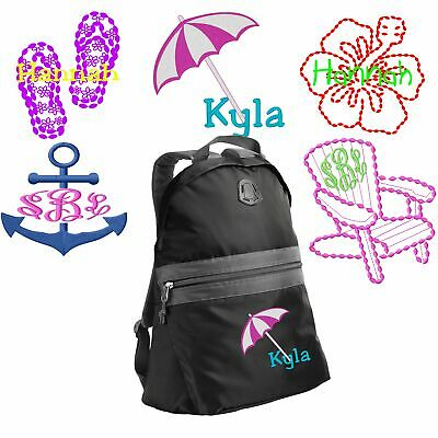 Personalized Flip-Flops/Beach/Hibiscus Flower/Anchor/Chair School Backpack