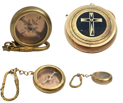 Solid brass vintage antique compass maritime key chain nautical jewelry 50 piece