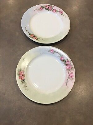 Vtg Lot 2 Hand Painted HC Schlaggenwald Czech Bohemian Hand Painted Rose Plates