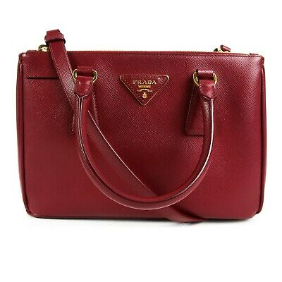 1990c586fd PRADA BURGUNDY SAFFIANO Leather Bibliothèque Clutch 1BF049 Crossbody ...