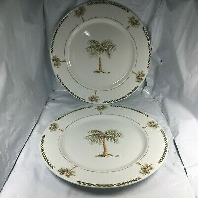 """Lot 2 Palm Tree Dinner Plates Gibson China 10 1/2"""" Fine Guc Free Shipping Vtg"""