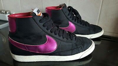 Girls Nike Blazer High Top Trainers - Black & Pink - Size UK 5 - VGC