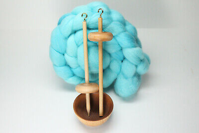 Complete Beginner Drop Spindle Spinning Kit - Mini Size Blue - Learn To Spin