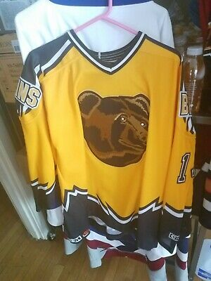 5462ced3662 GUC Club Hockey Worn Boston Bruins Pooh Bear Alternate Gold Jersey Sz XXL  CCM