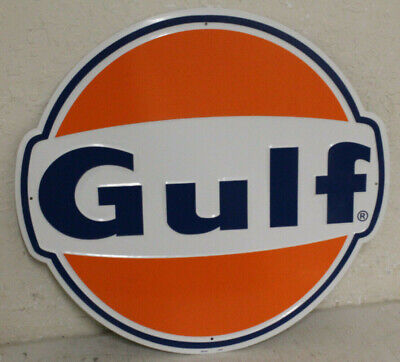 "Large Vintage Style 24"" Gulf Gas Station Signs Man Cave Garage Decor Oil Can"