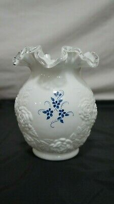 Vtg Fenton Milk Glass Hand Painted & Signed by D Anderson Ruffled Edge Vase Rose