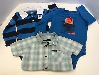 Lot Of 3 Boys Shirts Size 18 Months Carter's Hurley Okie Dokie