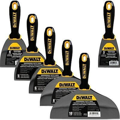 "DEWALT Putty Knife Set 6pc 3-4-5-6-8-10"" Stainless Steel Drywall Tools"