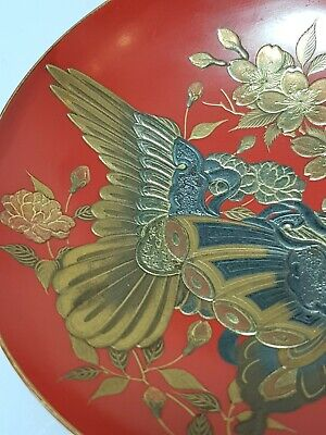 An Exquisite Edo Period Red Lacquer & Maki-e Sakazuki (Sake Cup) Butterfly Dance