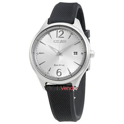 Citizen Chandler Silver Dial Black Silicone Ladies Watch FE6100-16A