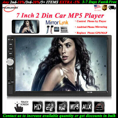 7''2 DIN Touch Screen Car Radio Stereo FM/TF/USB Mirror Link MP5 Player BT Audio