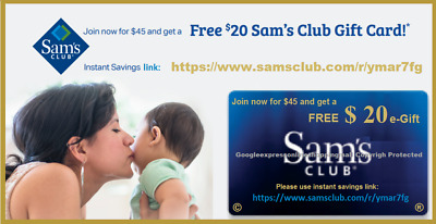 Walmart or SAM'S CLUB $20 Gift Card for Purchasing $45 New Sams Club Membership