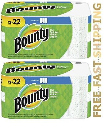 2 x Bounty Select-A-Size Double Rolls Paper Towels, 12 Count = 22regular rolls