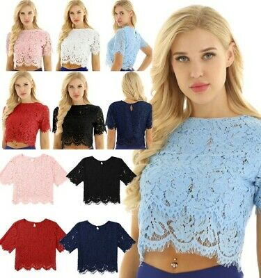 Women Lace Crop Top Round Neck Vests Elegant Daily Wear Casual Formal Work Dress