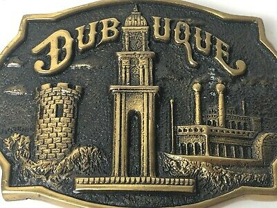 Vintage Dubuque Solid Brass Belt Buckle Heritage Mint 1978 Iowa Collectible