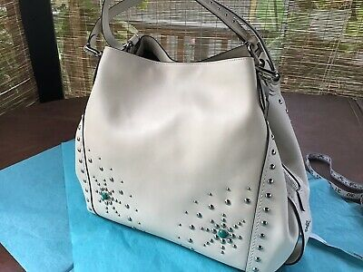 Coach Edie 42 Chalk Western With Turquoise Rivets. RARE! NWT