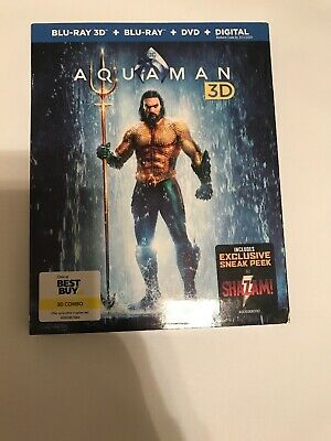 Aquaman (Blu-ray 3D + Blu-ray + DVD+Digital) NEW/Slipcover (Best Buy Exclusive)