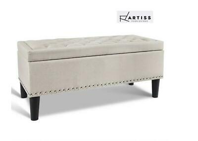 Artiss Blanket Box Storage Ottoman Linen Fabric Chest Foot Stool Bench Taupe